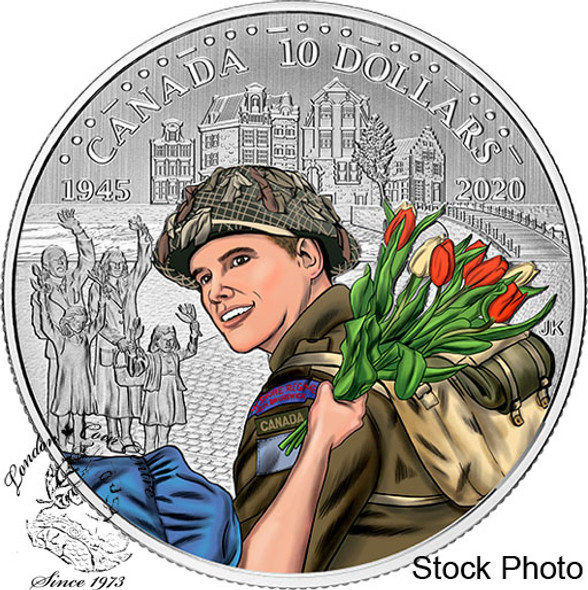 Canada: 2020 $10 75th Anniversary of the Liberation of Netherlands: Canadian Army Pure Silver Coloured Coin