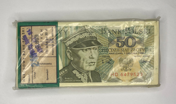 Poland: 1988 50 Zloty Bundle (100 pcs) Lot#1