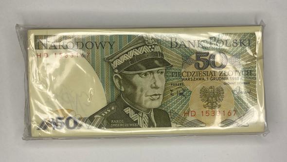 Poland: 1988 50 Zloty Bundle (100 pcs) Lot#2