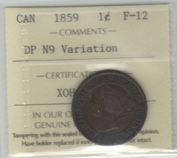 Canada: 1859 Large Cent DP N9 Variation ICCS F12