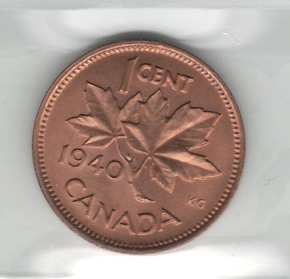 Canada: 1940 1 Cent ICCS MS65 Red #2