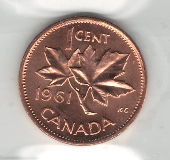 Canada: 1961 Cent ICCS MS65 Red #2