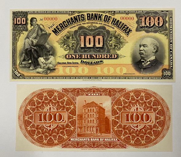 Canada: 1899 $100 Coloured Proof Banknotes - The Merchants Bank of Halifax