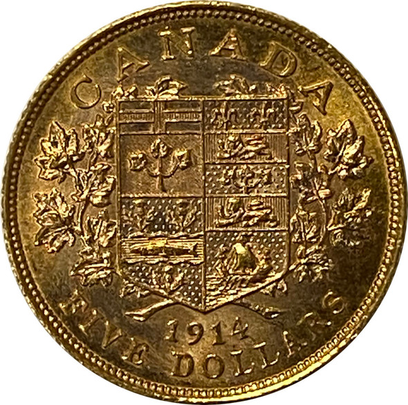 Canada: 1914 $5 Gold Coin with Nice Lustre