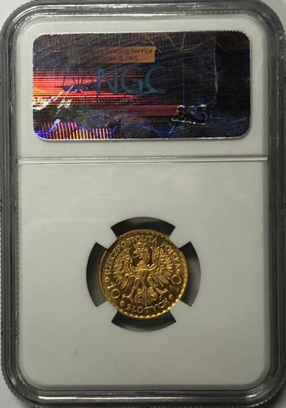 Poland: 1925 10 Zloty Boleslaw Chrobry Gold Coin NGC MS66