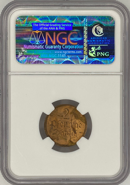 Poland: Danzig, 1926 2 Pfennig Coin NGC UNC Details Stained