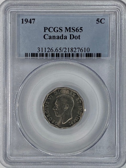 Canada: 1947 5 Cents Dot PCGS MS65