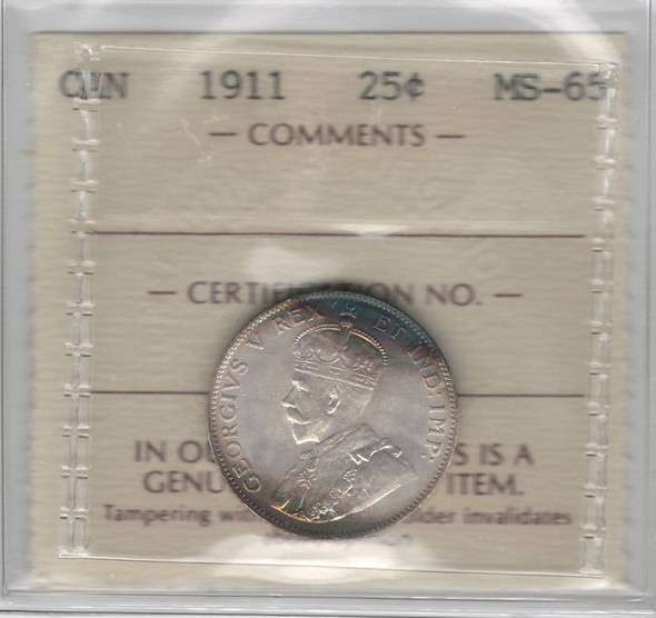 Canada: 1911 25 Cents ICCS MS65