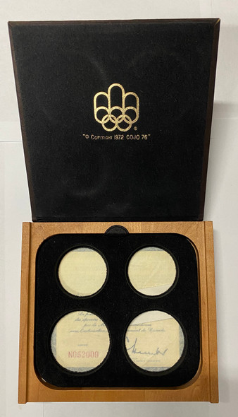 Canada: 1976 Montreal Olympic 4 Silver Coin Set Wooden Box