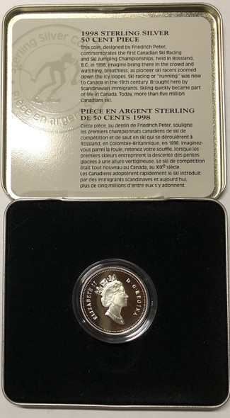 Canada: 1998 50 Cent Ski Jumping Championships Sterling Silver Coin