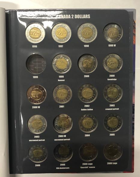 Canada: 1996-Date Collection of Toonies in Vista Book (34 Pieces)
