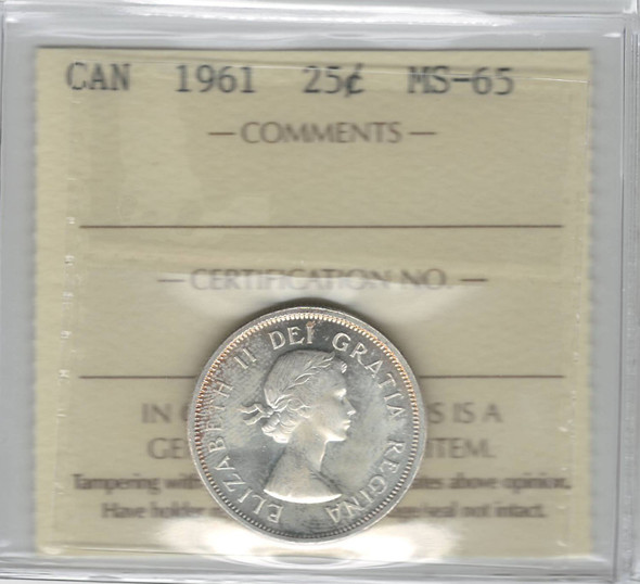 Canada: 1961 25 Cent ICCS MS65 Lightly Toned