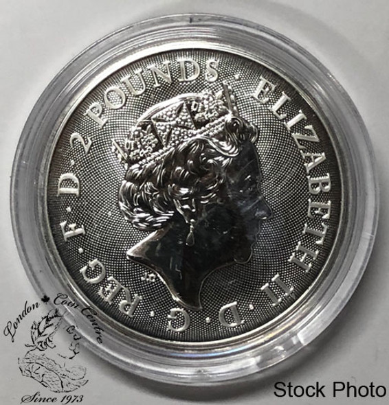 Great Britain: 2019 2 Pounds Year of the Pig 1 oz. Pure Silver Coin