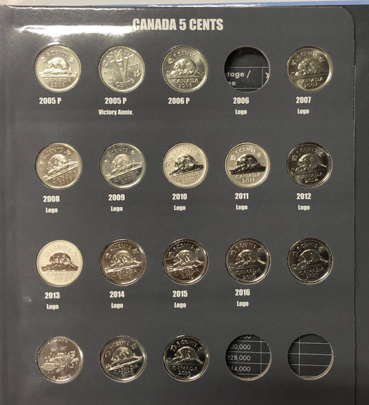 Canada: 1953 - 2020 Collection of Nickels in Vista Book (74 Pieces)