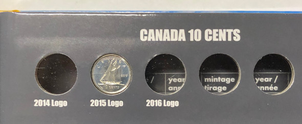 Canada: 1953 - 2015 Collection of Dimes 10 Cent in Vista Book (62 Pieces)