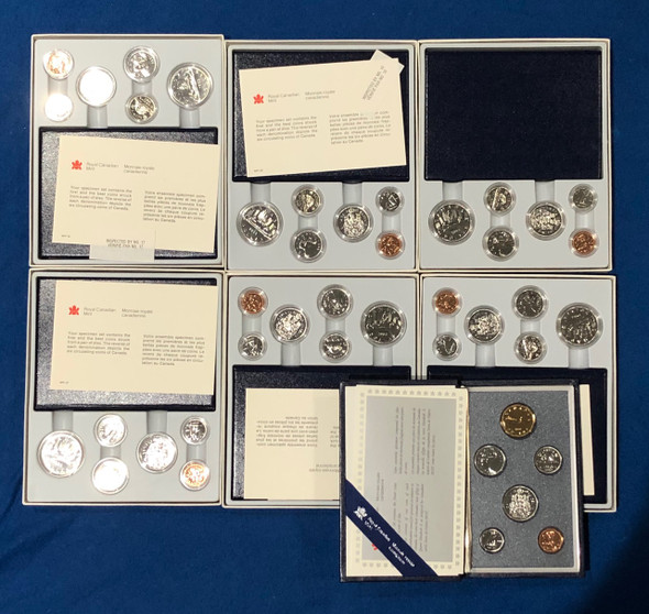 Canada: 1983 - 1990 Specimen Coin Set Collection Lot (7 Pieces) *Writing on Boxes*