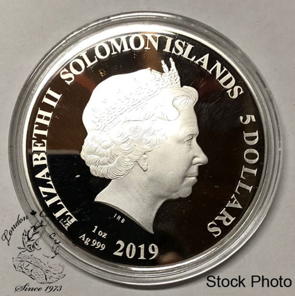 Solomon Islands: 2019 $5 Legends of Music: Madonna 1 oz. Pure Silver Coloured Coin