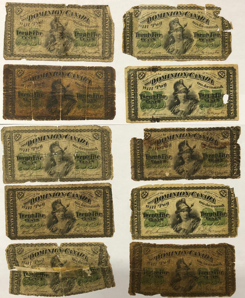 Canada: 1870 25 Cent Banknote Dominion of Canada Collection Lot (10 Pieces)