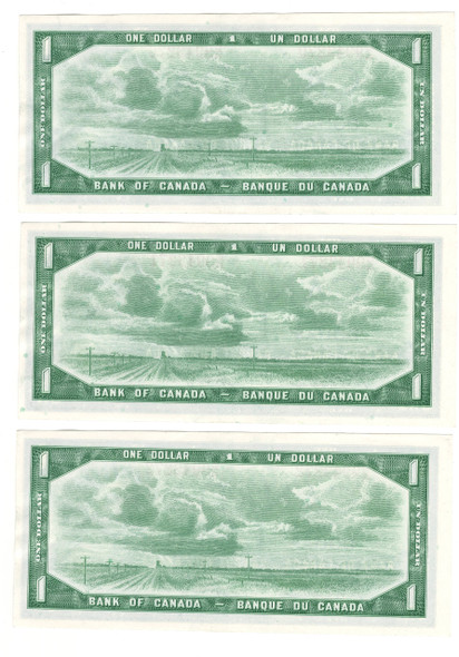 Canada: 1954 $1 Bank Of Canada 3 Consecutive in Sequence Banknotes G/M
