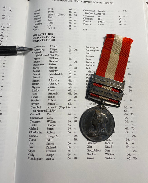 Canada, Dominion. A General Service Medal to the 5th (Royal Light Infantry) Battalion - Fenian Raid