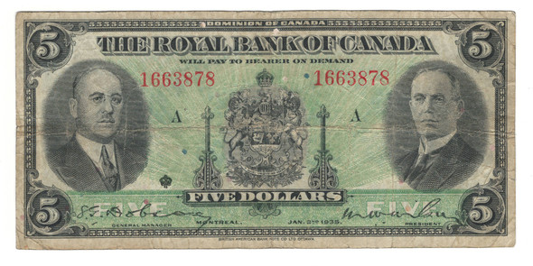 Canada: 1935 $5 Banknote - The Royal Bank of Canada 1663878