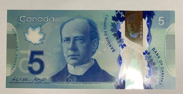 Canada: 2013 $5 Bank Of Canada Wilkins-Poloz BC-69c
