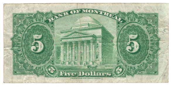 Canada: 1935 $5 Banknote - Bank of Montreal 760836