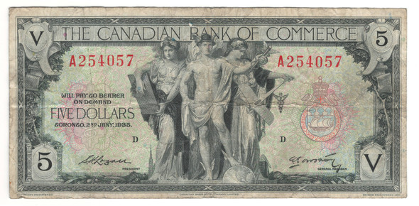 Canada: 1935 $5 Banknote - The Canadian Bank of Commerce A254057