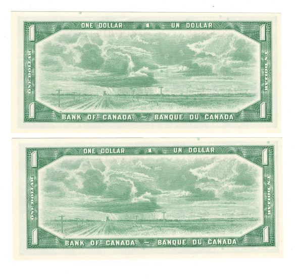 Canada: 1954 $1 Bank Of Canada 2 Consecutive in Sequence Banknotes BC-37b-i Lot#2