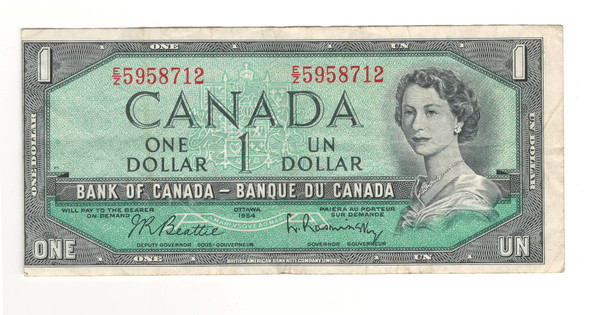 Canada: 1954 $1 Bank Of Canada Banknote BC-37b-i with Cutting Error
