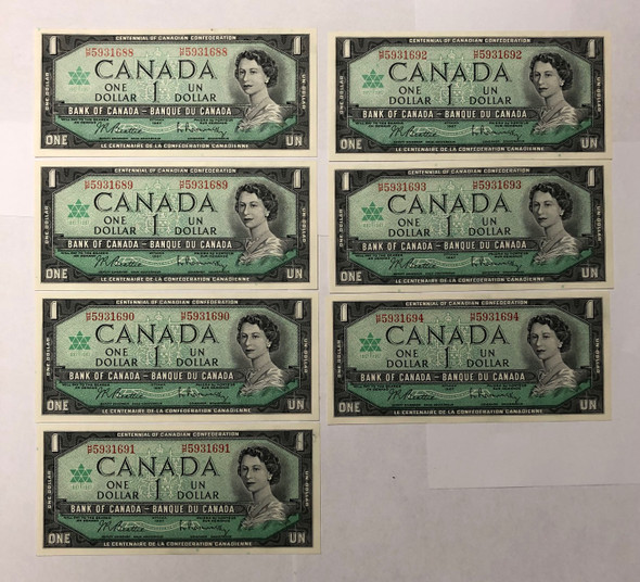 Canada: 1967 $1 Bank of Canada 7 Consecutive in Sequence Banknotes H/P