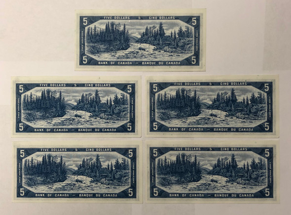 Canada: 1954 $5 Bank Of Canada Devil's Face 5 Consecutive in Sequence  Banknotes