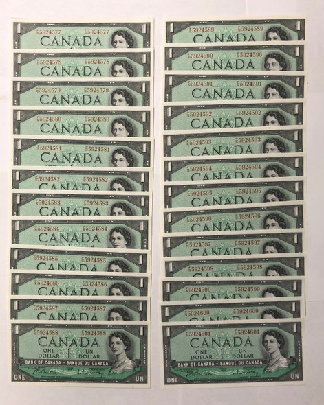 Canada: 1954 $1 Bank Of Canada 25 Consecutive in Sequence Banknotes BC-37b