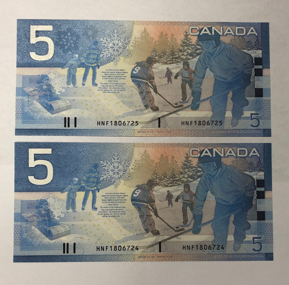 Canada: 2002 $5 Bank of Canada  2 Consecutive in Sequence Banknotes HNF