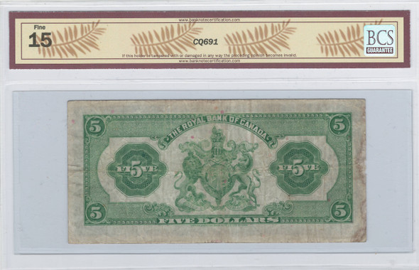Canada: 1935 $5 Banknote - The Royal Bank of Canada 1051189 Large Signature BCS F15