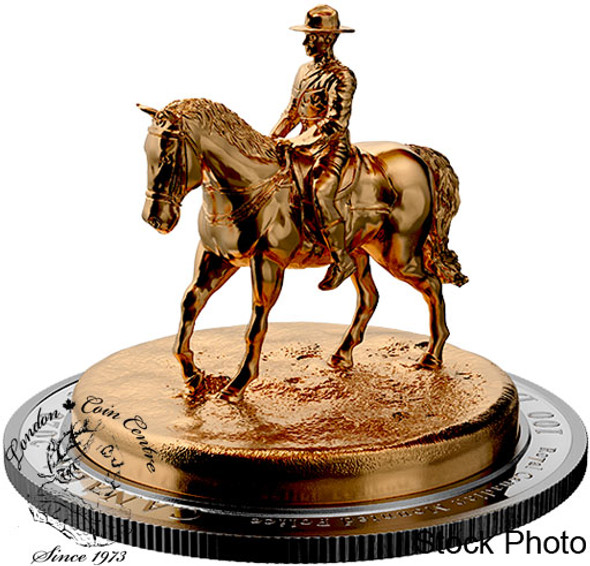 Canada: 2020 $100 The RCMP Musical Ride 10 oz Pure Silver Gold-Plated Sculpture Coin