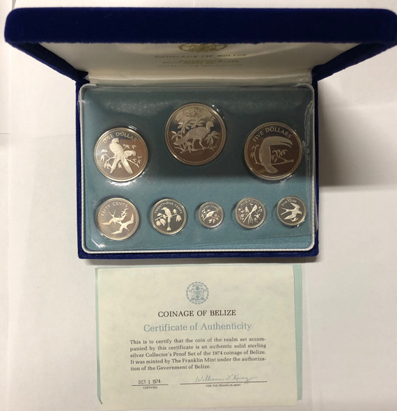 Belize: 1974 Proof Sterling Silver Coin Set (8 Coins)