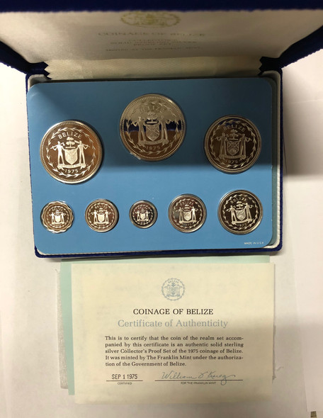 Belize: 1975 Proof Sterling Silver Coin Set (8 Coins)
