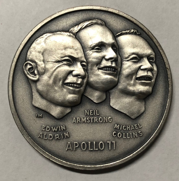 """Apollo 11 July 20 1969  """"The First Men on the Moon"""" Sterling Silver Medallion"""