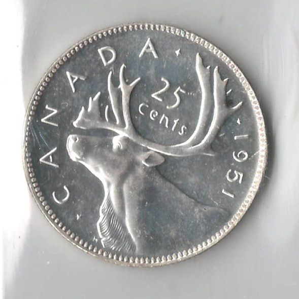 Canada: 1951 25 Cents ICCS PL65 Low Relief