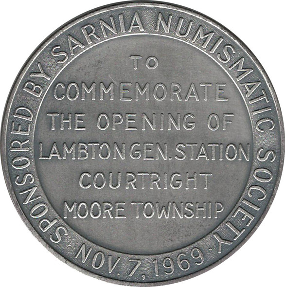 1969 Sarnia Numismatic Society Lambton Gen Station .999 Silver RARE