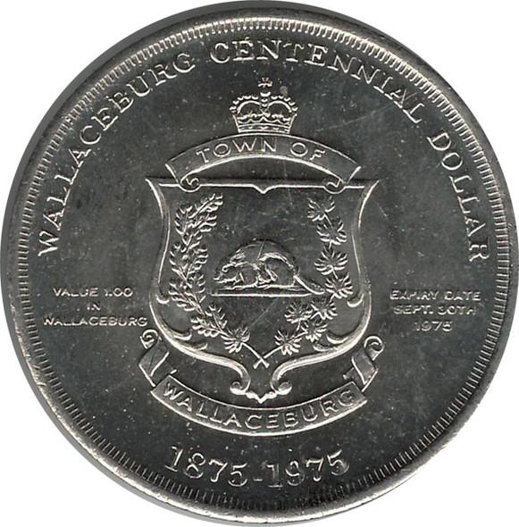 1975 Wallaceburg Centennial Trade Dollar Lord Selkirk & Chief John Naudee
