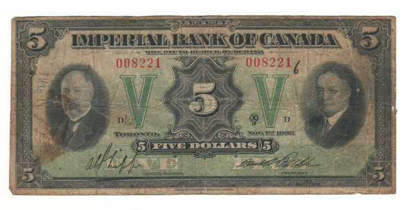 Canada: 1933 $5 Banknote - Imperial Bank of Canada 008221
