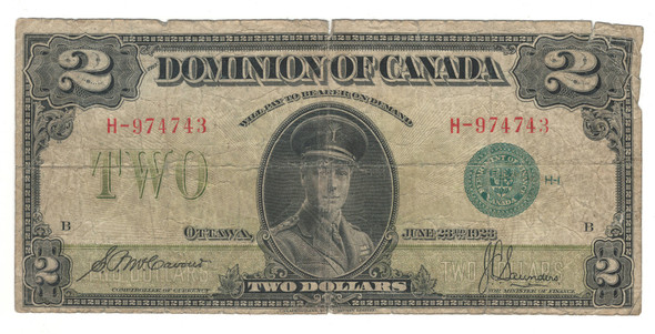 Canada: 1923 $2 Dominion of Canada Banknote Green Seal DC-26d