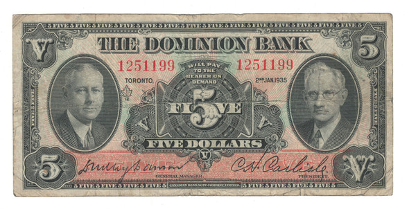 Canada: 1935 $5 Banknote - The Dominion Bank 1251199 Tear