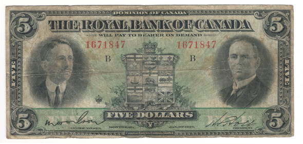 Canada: 1927 $5 Banknote - The Royal Bank of Canada
