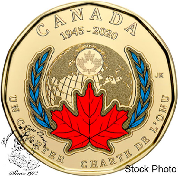 Canada: 2020 $1 75th Anniversary of the Signing of United Nations Charter Coloured Loonie