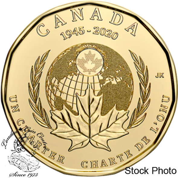 Canada: 2020 $1 75th Anniversary of the Signing of United Nations Charter Non-Coloured Loonie