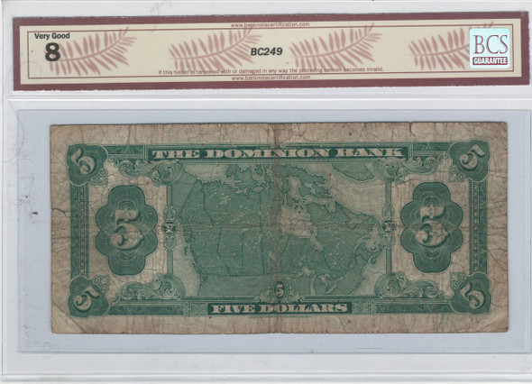 Canada: 1931 $5 Banknote - The Dominion Bank 220-24-02 BCS VG8