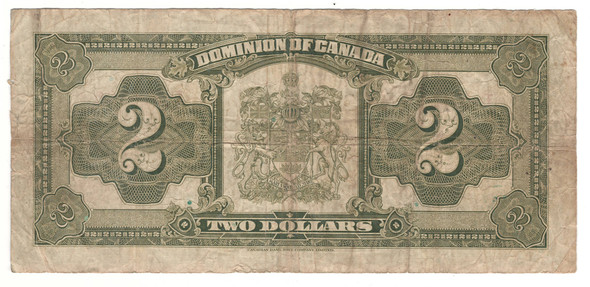 Canada: 1923 $2 Dominion of Canada Banknote Black Seal DC-26J